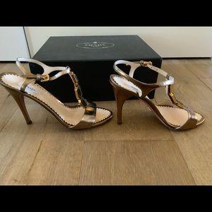 Prada t strap jeweled high heel sandals